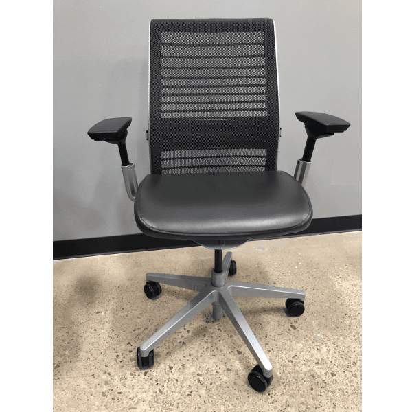 Steelcase Think Chair Front View - Grey Leather Seat & Grey Mesh Back