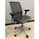 Steelcase Think Chair - Grey Leather Seat & Grey Mesh Back