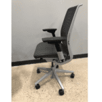 Steelcase Think Chair - Grey Leather Seat & Grey Mesh Back - Left Side