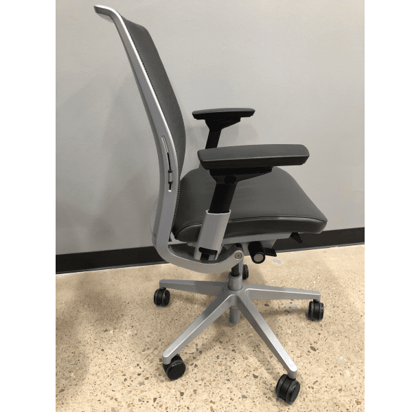 Steelcase Think Chair - Grey Leather Seat & Grey Mesh Back - Side