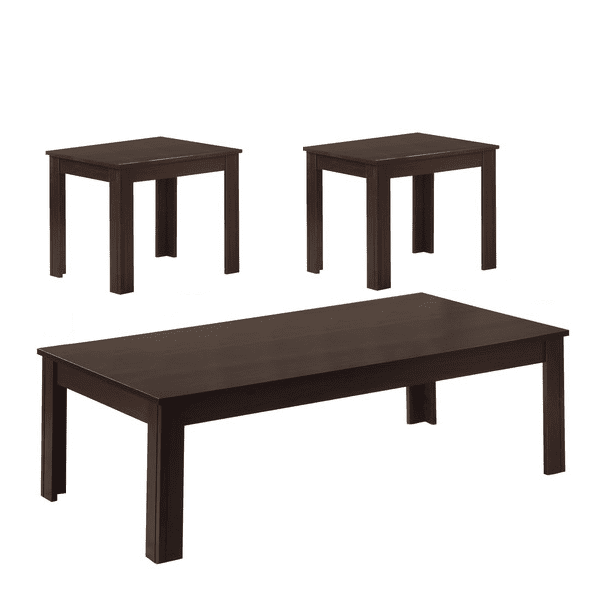Transitional 3-Piece Wooden Dark Walnut Color Occasional Table Group