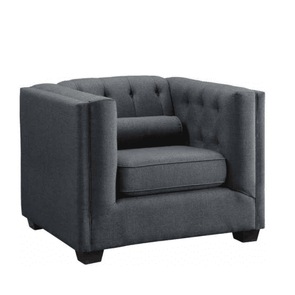 Tufted Fabric Back Lounge Chair - Charcoal