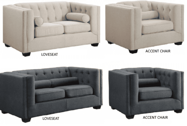 Tufted Fabric Back Loveseats - Charcoal and Oatmeal