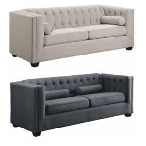 Tufted Fabric Back Sofa - Charcoal & Oatmeal
