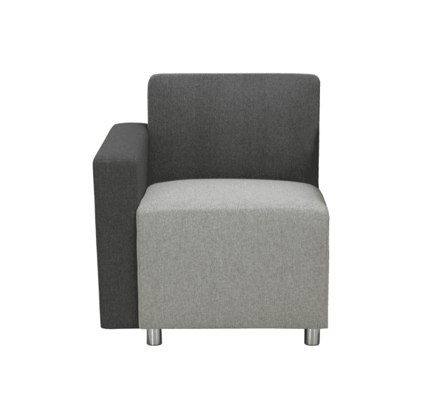 Two-Tone Modular Reception Lounge Chair - Right Charcoal Stone Arm for Chair End Row