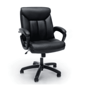 Value Seating Collection - Padded Black Leather Mid-Back Office Chair with Black Accents