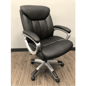 Mid Back Swivel Chair - Black Vinyl with Silver