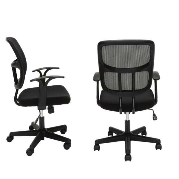 Values Black Mesh Office Task Chair - Fixed Armrests - Grouped
