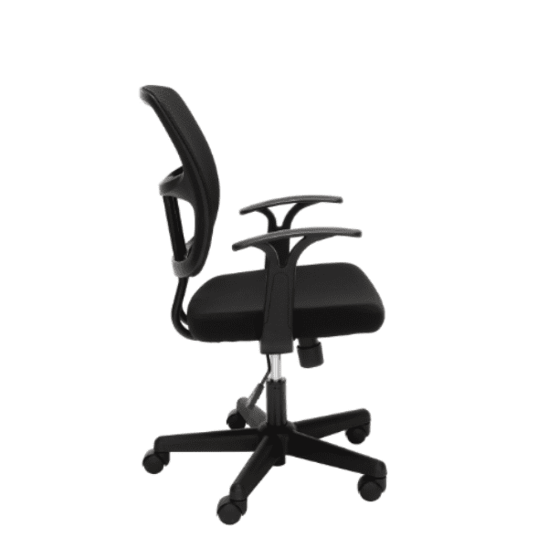 Values Black Mesh Office Task Chair - Fixed Armrests - Side