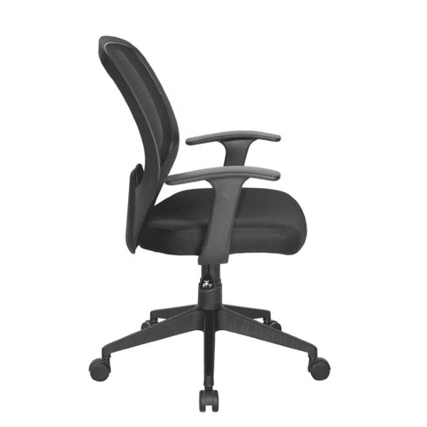 Values Collection Fixed T-Arms Black Mesh Back Task Chair - Side