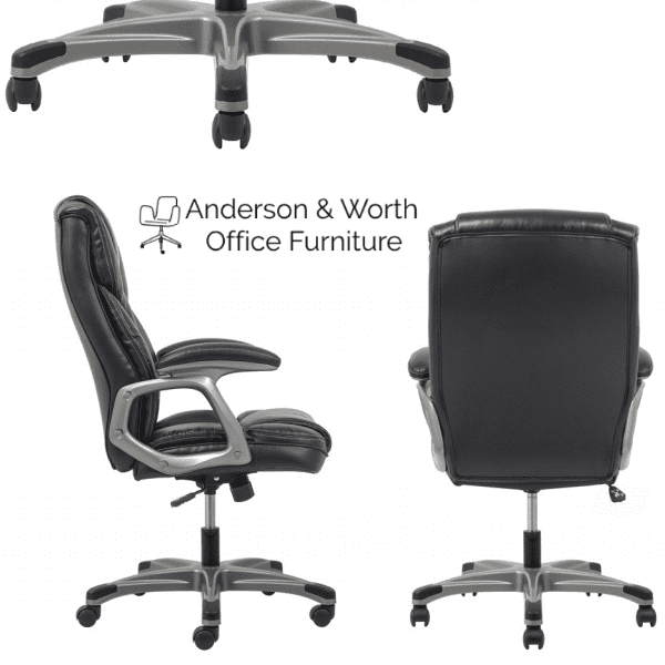 Values High Back Threaded Office Chair - Black and Silver