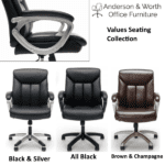 Values Mid Back Black & Brown Padded Leather Chairs