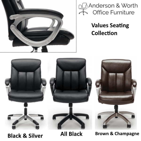 Values Mid Back Black U0026 Brown Padded Leather Chairs