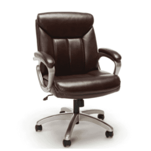 Values Mid Back Brown Leather Chair - Champagne