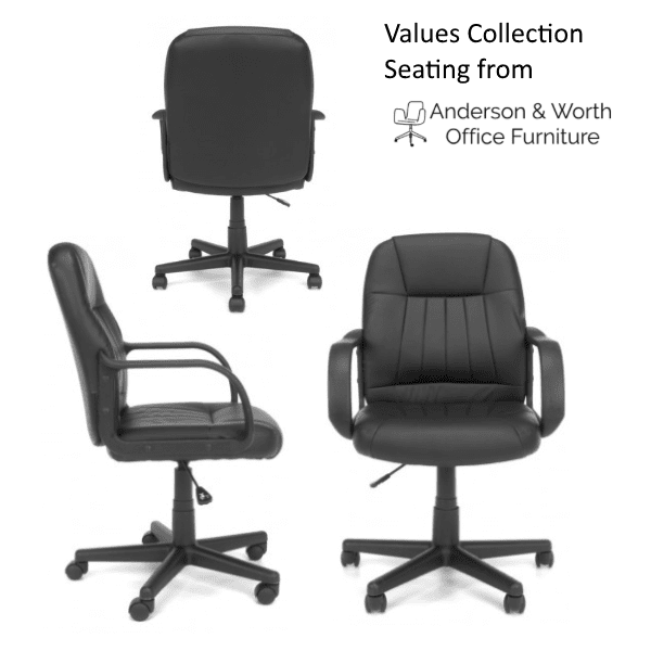 Values Mid-Back Bucket Leather Office Chair Array