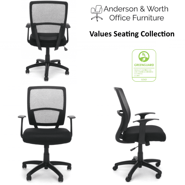 Values NYC Black Mesh Task Chair - T-Arms - Group