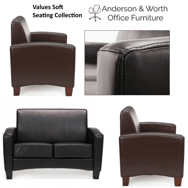 Values Soft Seating Collection - Black and Brown