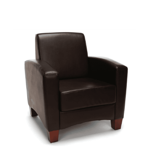 Values Soft Seating Collection Brown Leather Club Chair 2