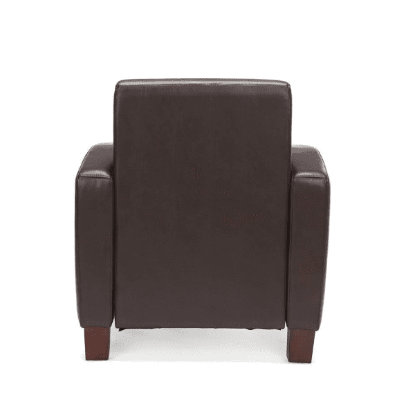 Values Soft Seating Collection Brown Leather Club Chair - Rear