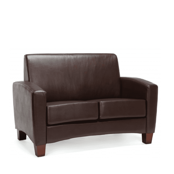 Values Soft Seating Collection Brown Leather Loveseat