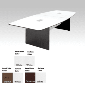 10 Feet Bevel Edge Boat Shape Conference Table - White Top - Espresso Legs