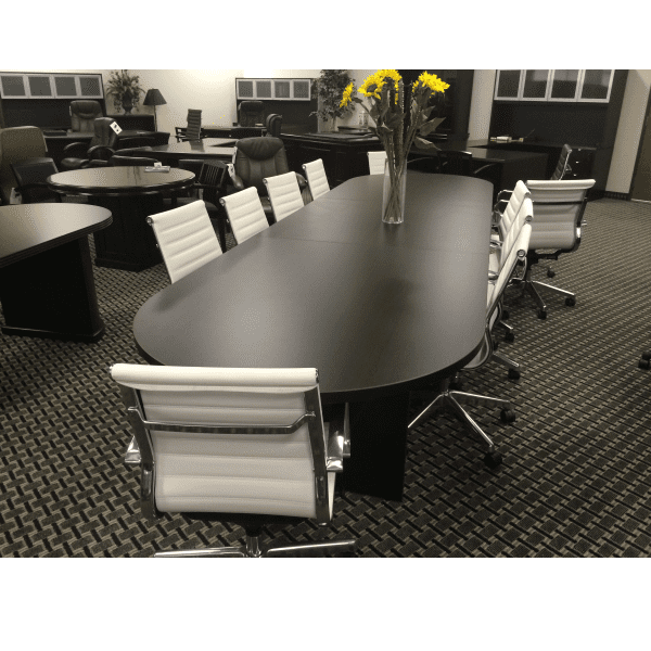 12 Feet Ultra Oval Conference Table with Slab Bases - Espresso