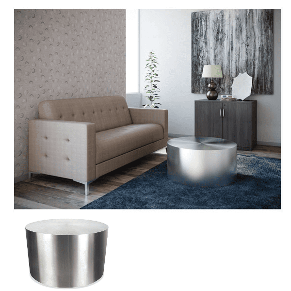 24 Inch Orb Round Cylinder Occasional Table Setting in Lobby