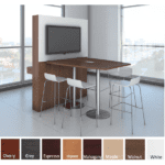 5 or 6 Feet Boat Shape Standing Height Conference Table - Walnut