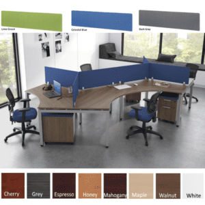6 Pod Desking Benching 120-Degree Workstations with Mounted Fabric Screens