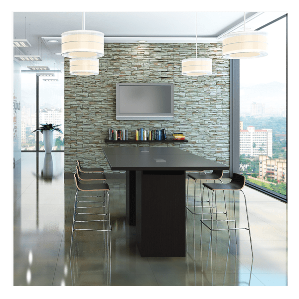 8 Feet Rectangular Shaped Conference Table - Standing Height Cube Bases - All Espresso Finish