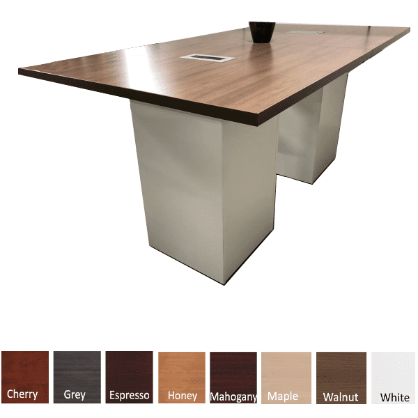 8 Feet Rectangular Shaped Conference Table - Standing Height Cube Bases - White Base - Walnut Top
