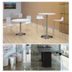 Bleecker Street Low Back Wood Stool with Chrome Base - 3 Color Stools