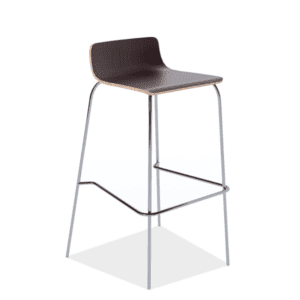 Bleecker Street Low Back Wood Stool with Chrome Base - Espresso - 3 Colors