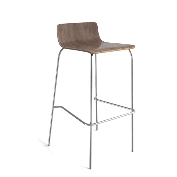 Bleecker Street Low Back Wood Stool with Chrome Base - Walnut - 3 Color Stools