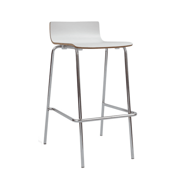 Bleecker Street Low Back Wood Stool with Chrome Base - White - 3 Color Stools
