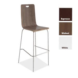 Bleecker Street Wood Stool with Back & Chrome Base - Walnut - 3 Color Stools