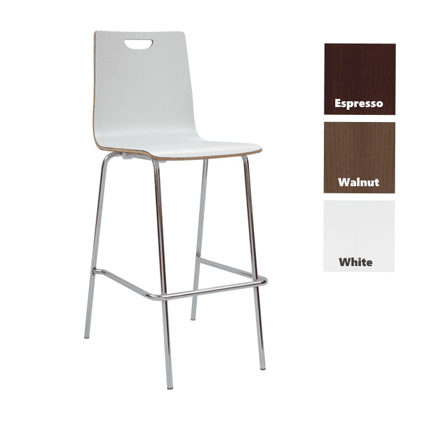 Bleecker Street Wood Stool with Back & Chrome Base - White - 3 Color Stools