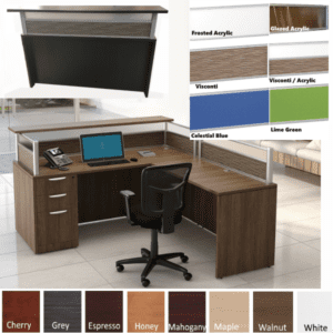 Borders 6 Feet L-Shaped Reception Desk - Visconti and Frosted Acrylic Screens - 8 Colors & 6 Screens - Right Return
