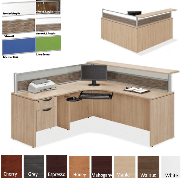 Borders 66 INCH L Shaped Reception Station with Interior Desk Curve & Rectangular Top - Flush Front - Maple Finish - Left- Visconti Frosted Screen Combination