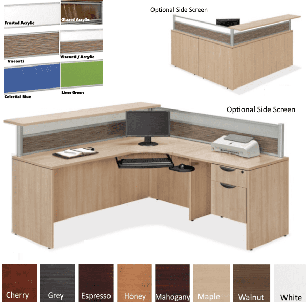 Borders 66 INCH L Shaped Reception Station with Interior Desk Curve & Rectangular Top - Flush Front - Maple Finish - Visconti Frosted Screen Combo -Optional Side Screen