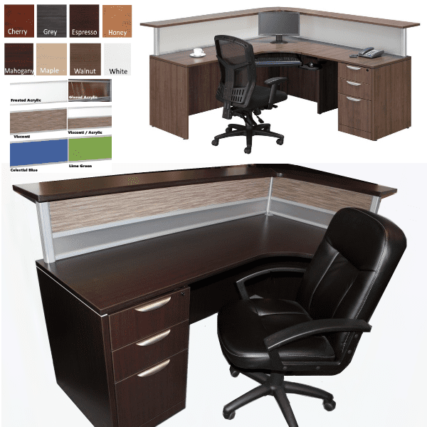 Borders L-Shaped Reception Desk with Curved Transaction Counter - Espresso & Walnut - 8 Colors