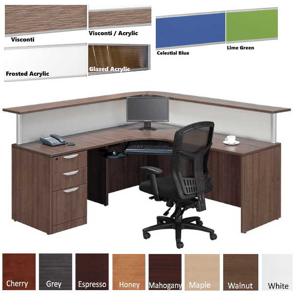Borders L Shaped Reception Station with Interior Curve - Flush Front - Curved Front Wrap-around Reception Counter - 8 Fabrics - LEFT Hand
