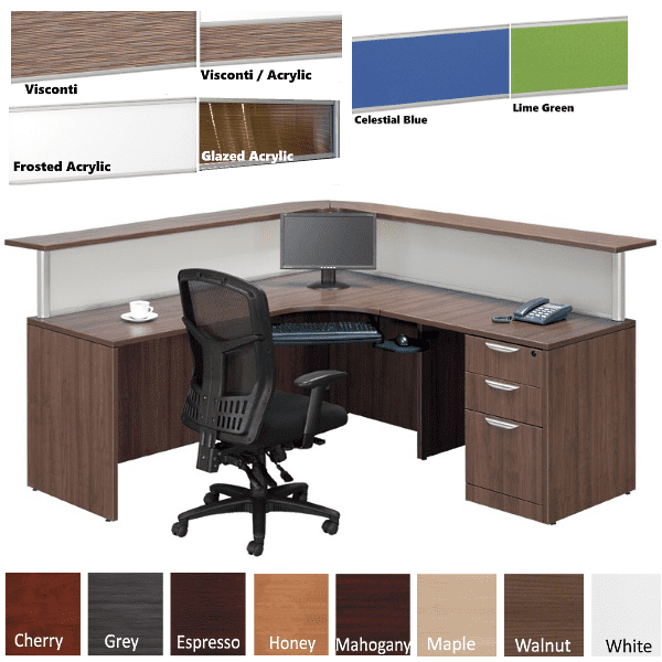 Borders L Shaped Reception Station with Interior Curve - Flush Front - Curved Front Wrap-around Reception Counter - 8 Fabrics - Right Hand