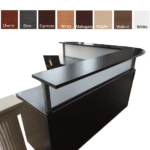 Borders L Shaped Reception Station with Interior Curve - Flush Front - Espresso - Curved Front Wrap-around Reception Counter