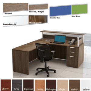 Borders L Shaped Reception Station with Interior Curve Surface - Flush Front - 6 Screen Options - 8 Finish Colors