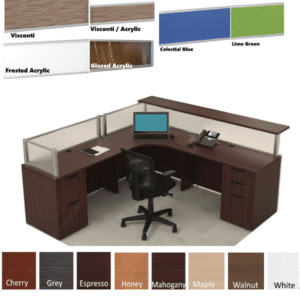 Borders L Shaped Reception Station with Interior Desk Curve & Rectangular Top - Flush Front - Mahogany - Interior Curve - Front Rectangular Reception Counter - Left Hand - 8 FINISHES