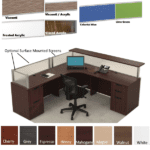 Borders L Shaped Reception Station with Interior Desk Curve & Rectangular Top - Flush Front - Mahogany - Interior Curve - Front Rectangular Reception Counter - Left Hand - 8 FINISHES - Optional Side Screens