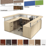 Borders Maple U Shape Reception Station with Wrap Around Curved Transaction Counter- Maple - Frosted Acrylic Screens - Silver - 108 x 89 - Curved Interior
