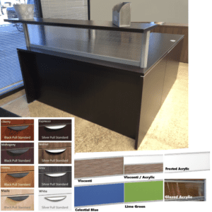 Borders Reception Desk - Glazed Screen - Espresso - 8 Color Finishes - Shown with Right Return
