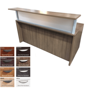 Borders Rectangular Reception Desk- Walnut - 8 Colors